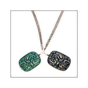 Two Sided Enamel Filigree Pendant Necklace